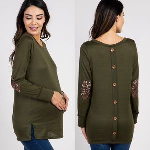 PinkBlush Olive Button Back Sequin Elbow Patch Top